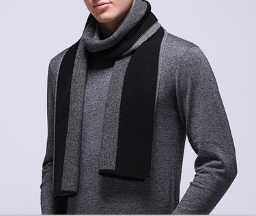 Cashmere knitted stripes scarf-14