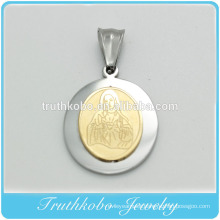 Hot Sell Fashion Religious Jewelry Blessed Virgin Mary Stainless Steel Two Tone Double Layers Necklace Pendants Medallion