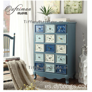 Mediterranean sea style Living Room Wooden Small Cabinets 15 Drawers Country Style solid wooden cabinet
