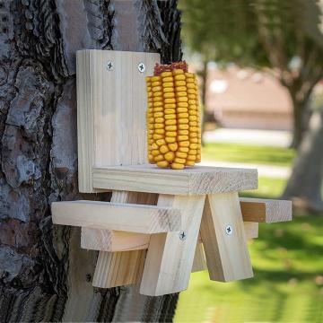ET-720729 Mesa de picnic con alimentador de ardilla premium grande, soporte de comida para mesa de picnic de mazorca de maíz