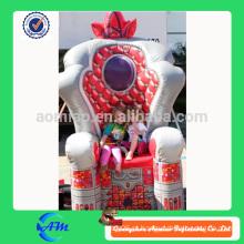 Grande luxo vermelho inflável trono para promoção