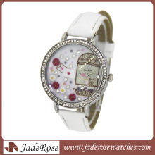 Diamond on Dial and Leather Strap Lady Watches Fashion Watch