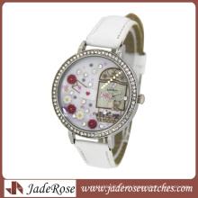 Relógios femininos de diamante com mostrador e pulseira de couro