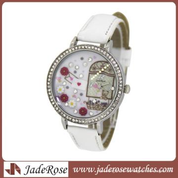 Diamante en esfera y correa de cuero Relojes para dama Reloj de moda