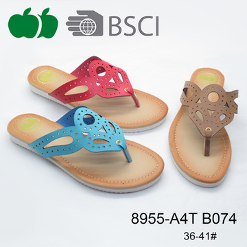 New Design Fashion Low Price Women Pu Slippers Shoes