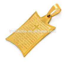 gros croix en métal pendentif lettre lettre impression pèlerin croissant collier de l'amitié en acier inoxydable faisant