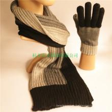 Homens inverno clássico listrado acrílico e cachecol de lã