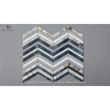 Wholesale Blue Mixed White Glass Chevron Mosaic Tile