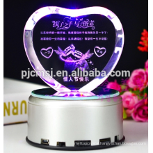 Heart Shape Crystal With 3D Laser Engraving and LED light For Gifts