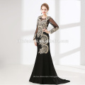 Factory supply heavy beaded black color women evening dress gown with long sleeve