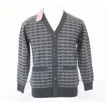 Yak Wolle / Cashmere V-Ausschnitt Strickjacke mit 2 Patch Langarm-Pullover / Garment / Strickwaren / Kleidung