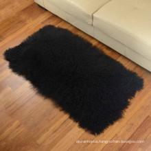 luxurious modern decorative 2' x 4' Curly Hair tibetan Mongolian Lamb sheepskin Fur Rug