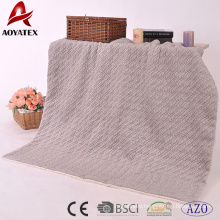 2018 new design fashion embossed knitted micromink blanket