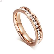 Casamento Pave Cristal Aço Inoxidável 18K Rose Gold Eternity Band Anéis