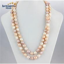 11-12mm Couleur mélangée un collier de perles de riz de 48 po Collier de perles d'eau douce cultivé