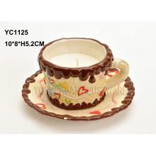 Handgemalter Keramikbecher und Teller Set
