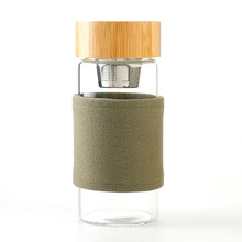 400ML Water Bottle Glass with Tea Infuser, Bamboo Lid with Magnet Glass Bottle Water Bottle Custom