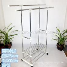 Double Rail Adjustable Portable Clothes Hanger Garment Rack Premium Heavy Duty
