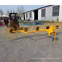 5 Plates Hay Rake Mounted to 40HP Tractor