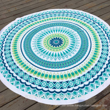 2017 cheap mandala design with tassels sublimation print Round Beach Towel RBT-057