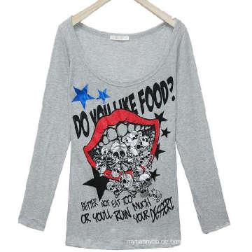 Langes Hülsen-T-Shirt des Mode-Schirm-Druckkundenspezifischen Mädchens