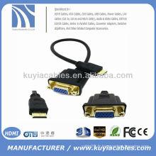 1FT 0.3M Mini HDMI mâle à VAG HD15 Adaptateur femelle M / F Câble HDTV 30cm