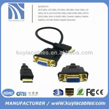 1FT 0.3M Mini HDMI Мужской VAG HD15 Женский M / F разъем адаптера HDTV кабель 30 см