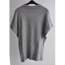 Grey Marl manga corta suelta punto jersey para mujer suéter