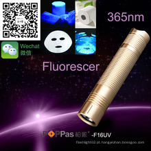 Poppas F16UV portátil de alta potência laser ponteiro LED 365nm UV lanterna tocha