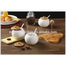 Chaozhou porcelana 3 compartimento sal e pimenta pot