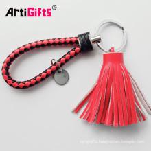 Cheap Custom Handmade Leather Keychain With Tassel