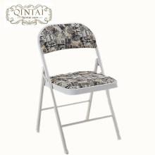 Structure de métal chaise pliante en gros pas cher avec PU dos et siège imprimé Monroe en noir et blanc meubles pliants