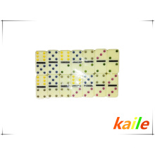 Double six light yellow plastic domino with wooden box