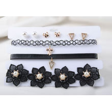 Три ряда черный пу и ткани набор серьги Колье