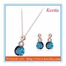 Китай синий кристалл ювелирные изделия ожерелье и серьги наборы для женщин