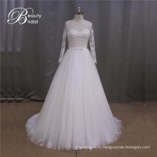 2016 новый длинный рукав аппликацией свадебное платье
