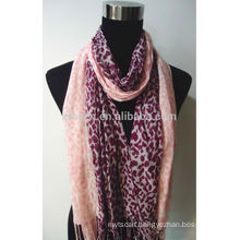 100% Rayon Leopard Printed Scarf with Fringe