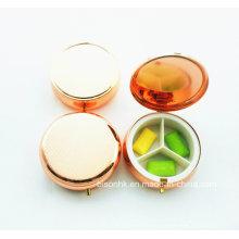 Изготовленный на заказ цвет круглый случай пилюльки, красный цвет коробки pill