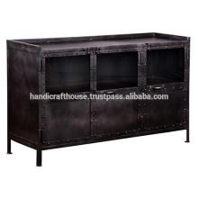 Support de télévision en métal industriel noir 3 portes