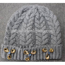 Acrylic Knitted Winter Hat with Jewelry