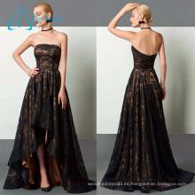 2017 Nueva llegada A-Line Strapless Asymmetrical Lace Evening Dress