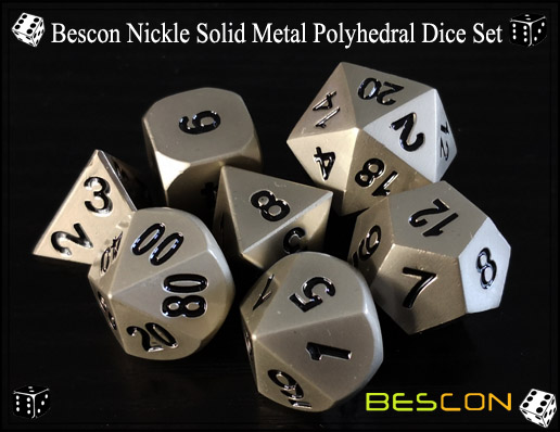 Bescon Nickle Solid Metal Polyhedral Dice Set-3
