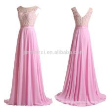 Robe De Soiree Abendkleider 2016 A-line Scoop Chiffon Evening Gowns Long Appliqued Beaded Prom Dress Vestidos De Fiesta Longo