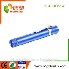 Vente en vrac Portable Matériel en aluminium Usage médical 1 Watt Pocket Promotionnel Pen Pen Light Matal Lampe torche lumineuse