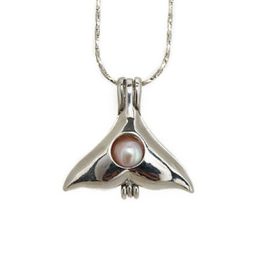 The Whale Tail Hollow Pearl Cage Pendant