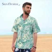 flamingo leaves printed cotton hawaiian shirt men