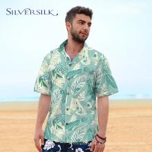 flamingo deixa estampado homens camisa havaiana de algodão
