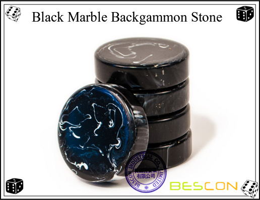 Black Marble Backgammon Stone
