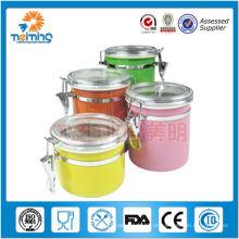 4pcs vasilha de café hermético de aço inoxidável colorido, vasilhas de chá