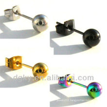 Stainless Steel Ball Stud Earring 4 Colours 2 Sizes